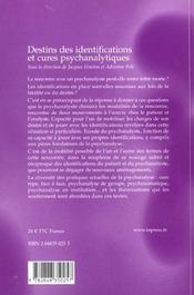 Destins des identifications et cures psychanalytiques - 4ème de couverture - Format classique