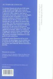 Regards sur la musique au temps de Louis XVI - 4ème de couverture - Format classique