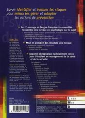 Psychologie du risque ; identifier, évaluer, prévenir - 4ème de couverture - Format classique