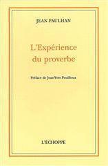 Experience Du Proverbe (L') - Couverture - Format classique