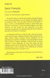 Saint-francois ; la maladie - 4ème de couverture - Format classique