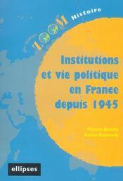 Institutions Et Vie Politique En France Depuis 1945 - Intérieur - Format classique