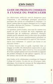 Guide Des Produits Chimiques A L'Usage Du Particulier - 4ème de couverture - Format classique
