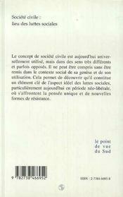Societe Civile : Lieu Des Luttes Sociales - 4ème de couverture - Format classique