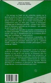Droit Du Travail Et Culture Sociale ; L'Exemple Allemand - 4ème de couverture - Format classique