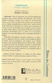 Nightingale ; L'Amour Du Rossignol - 4ème de couverture - Format classique
