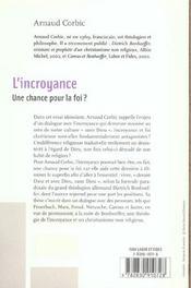 L'Incroyance. Une Chance Pour La Foi ? - 4ème de couverture - Format classique