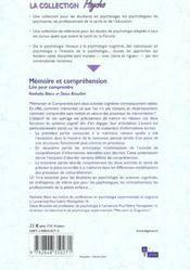 Memoire Et Comprehension ; Lire Pour Comprendre - 4ème de couverture - Format classique