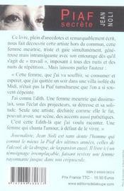 Piaf secrète - 4ème de couverture - Format classique