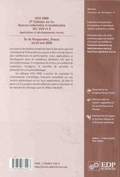 Uvx 2000 5eme Colloque Sur Les Sources Coherentes Et Incoh. - 4ème de couverture - Format classique