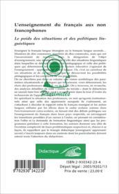 L'enseignement du français aux non francophones ; le poids des situations et des politiques linguistiques - 4ème de couverture - Format classique