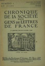 CHRONIQUE DE LA SOCIETE DES GENS DE LETTRES DE FRANCE N°1, 83e ANNEE ( 1er JANVIER 1948 AU 30 AVRIL 1948) - Couverture - Format classique