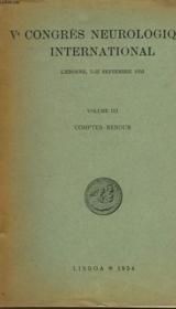 V° Congres Neurologique International - Volume Lll - Comptes-Rendus - Couverture - Format classique