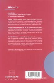 Le secours populaire français 1945-2000 ; du communisme à l'humanitaire - 4ème de couverture - Format classique