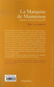 La Marquise De Maintenon - 4ème de couverture - Format classique
