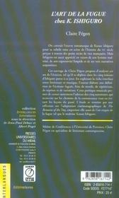 L Art De La Fugue Chez K Ishiguro - 4ème de couverture - Format classique