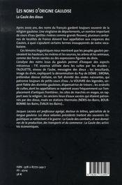 Les noms d'origine gauloise t.3 ; la gaule des dieux - 4ème de couverture - Format classique