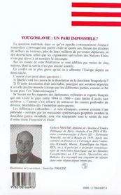 Yougoslavie ; un pari impossible ; la question nationale de 1944 à 1960 - 4ème de couverture - Format classique