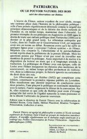 Patriarcha Ou Du Pouvoir Naturel Des Rois Et Observatio - 4ème de couverture - Format classique