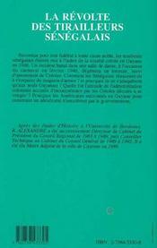 La Revolte Des Tirailleurs Senegalais ; Cayenne, 24-25 Fevrier 1946 - 4ème de couverture - Format classique
