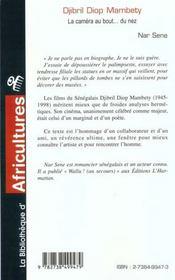 Djibril Diop Mabety ; La Camera Au Bout Du Nez - 4ème de couverture - Format classique