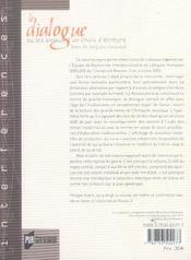 Dialogue Un Jeu D Ecriture - 4ème de couverture - Format classique