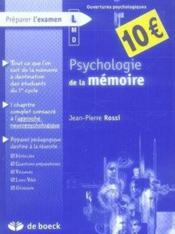 Psychologie de la mémoire - Couverture - Format classique