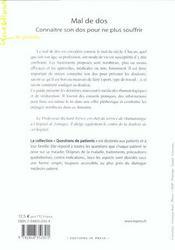 Mal De Dos ; Connaitre Son Dos Pour Ne Plus Souffrir - 4ème de couverture - Format classique