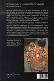 Le chalcolithique et la construction des inégalités t.1 ; le continent européen - 4ème de couverture - Format classique