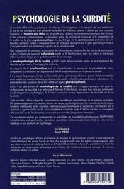 Psychologie de la surdité (3e édition) - 4ème de couverture - Format classique