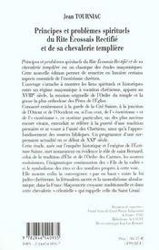 Principes et lumieres spirituel du rite ecossais rectifie et de sa chevalerie templiere - 4ème de couverture - Format classique