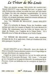 Le Tresor De Ho - Louis - 4ème de couverture - Format classique
