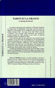 Tahiti et la France ; le partage du pouvoir - 4ème de couverture - Format classique