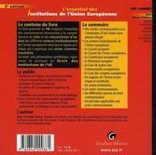 L'essentiel des institutions de l'union européenne (9e édition) - 4ème de couverture - Format classique