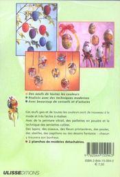 Oeufs Decores Peinture Vitrail Paillettes Serviettes Collees - 4ème de couverture - Format classique