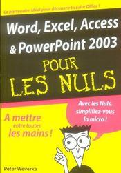 Word, excel, access et powerpoint 2003 pour les nuls - Intérieur - Format classique