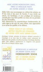 Horoscope 2008 ; Verseau - 4ème de couverture - Format classique