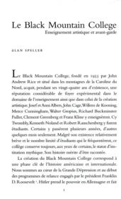 Vente livre :  Le Black Mountain college  - Alan Speller