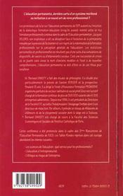 L'Education Permanente Derniere Carte D'Un Systeme Moribond Ou Invitation A Un Nouvel Art De Vivre Professionnel - 4ème de couverture - Format classique