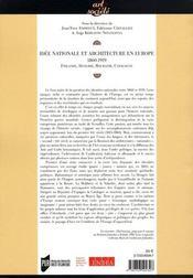 Idée nationale et architecture en europe, 1860-1919. finlande, hongrie, roumanie, catalogne - 4ème de couverture - Format classique