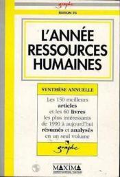 L'Annee Ressources Humaines 1993 - Couverture - Format classique