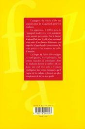 La Langue Du Siecle D'Or. Syntaxe Et Lexique De L'Espagnol Classique - 4ème de couverture - Format classique