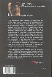 Ego trip ; la societe des artistes sans oeuvre - 4ème de couverture - Format classique