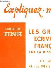 Les Grands Ecrivains Francais - Tome Vii - La Poesie Symboliste (Verlaine Et Rimbaud) - Couverture - Format classique
