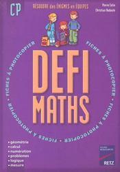 Defi Maths ; Cp ; T.1 ; Fiches A Photocopier - Intérieur - Format classique