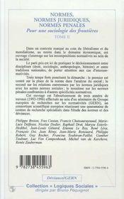 Normes, Normes Juridiques, Normes Penales ; Pour Une Sociologie Des Frontieres T.2 - 4ème de couverture - Format classique