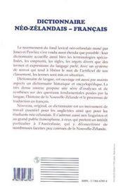 Dictionnaire Neo-Zelandais/Francais - 4ème de couverture - Format classique