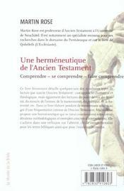 Une hermeneutique de l'ancien testament - 4ème de couverture - Format classique