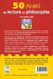 Cinquante fiches de lecture en philosophie t.1 - 4ème de couverture - Format classique