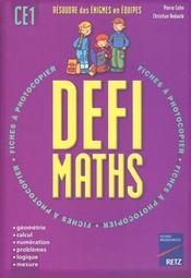 Defi Maths ; Ce1 ; T.1 ; Fiches A Photocopier - Intérieur - Format classique